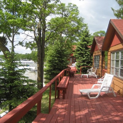 Cabins 46 and 47 lakeside deck