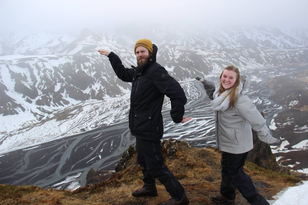 Bjarni Guðmundsson of Hella, Iceland does the Pelican with Tenley Propst on top of a mountain in Iceland. Photo courtesy of Tenley Propst